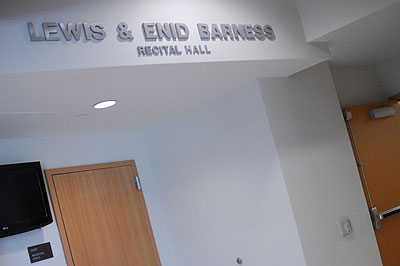 View of entrance to the Barness Recital Hall